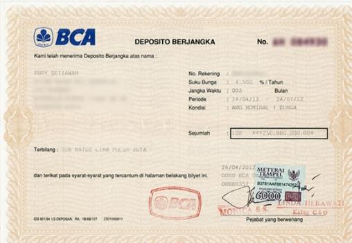 contoh sertifikat deposito